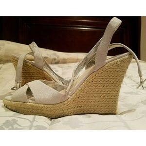 ALDO Silver Peep Toe Wedge Espadrille Sandals